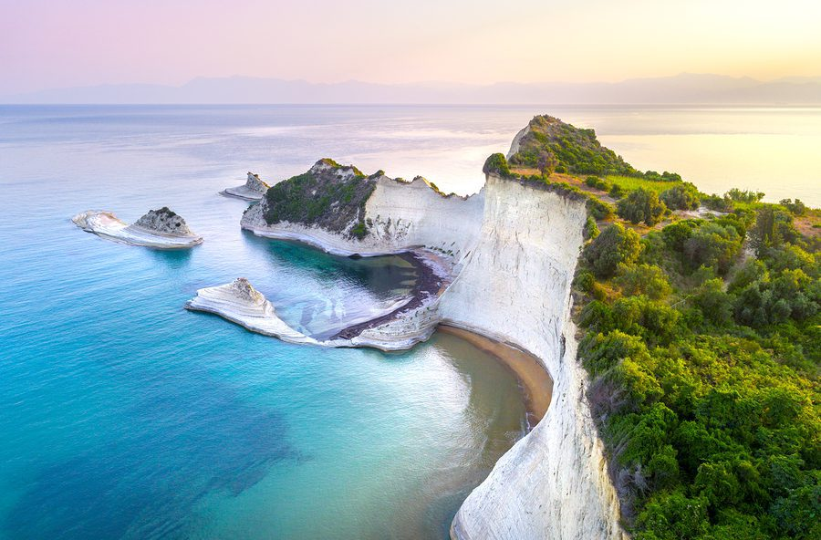 Beautiful view of Cape Drastis in Corfu in Greece