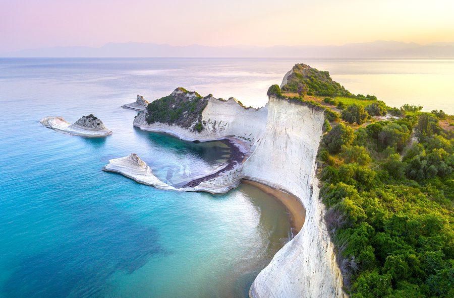 Beautiful view of Cape Drastis in Corfu in Greece